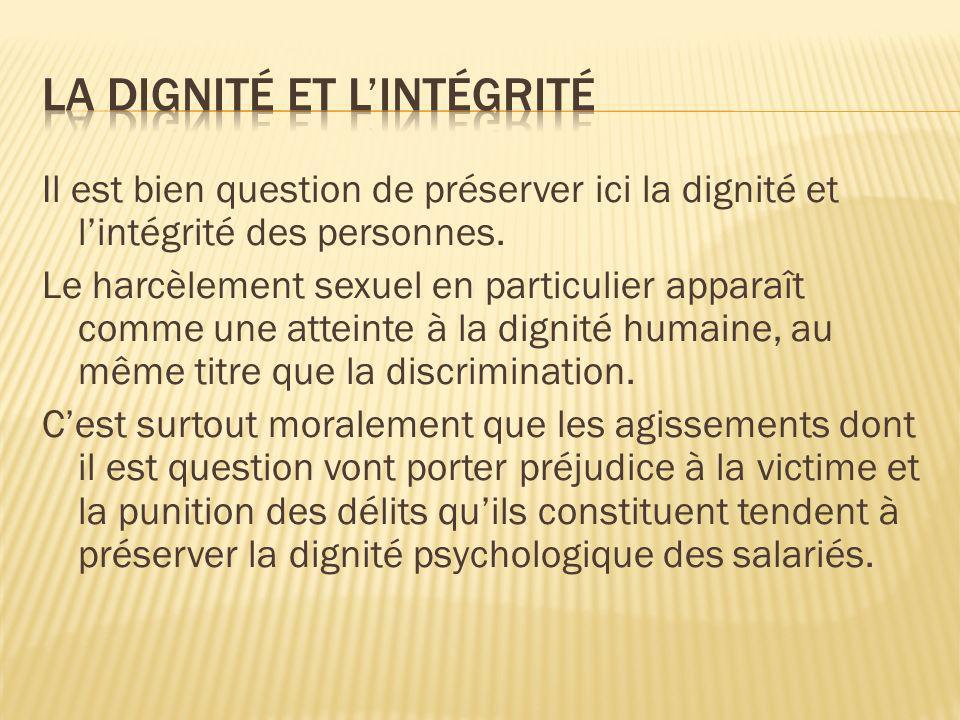 La dignité et l'intégrité