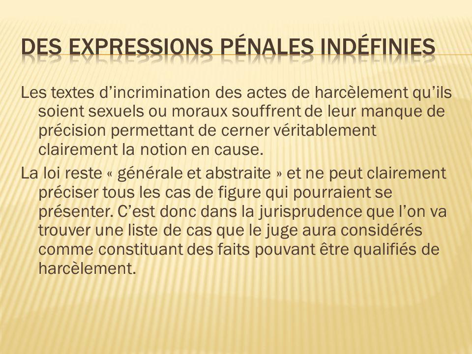 Des expressions pénales indéfinies