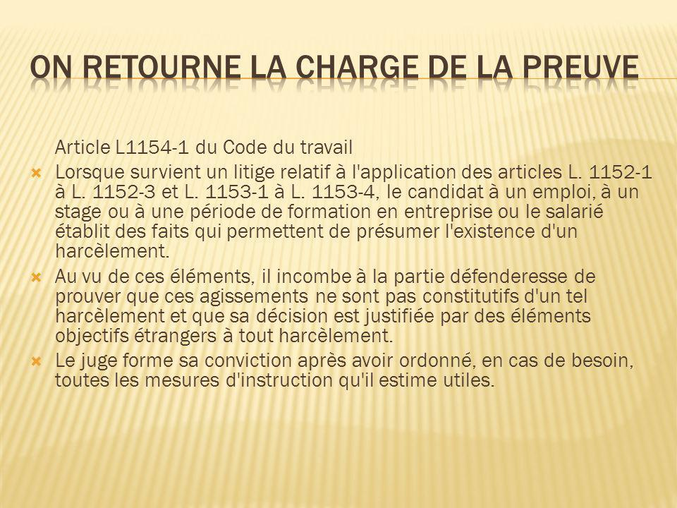 On retourne la charge de la preuve
