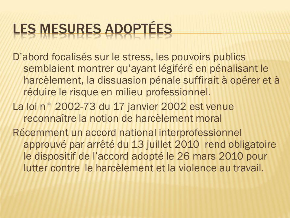 Les mesures adoptées