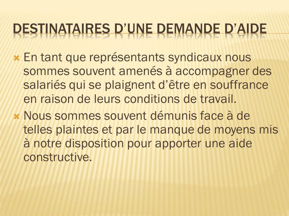 DESTINATAIRES D'UNE DEMANDE D'AIDE