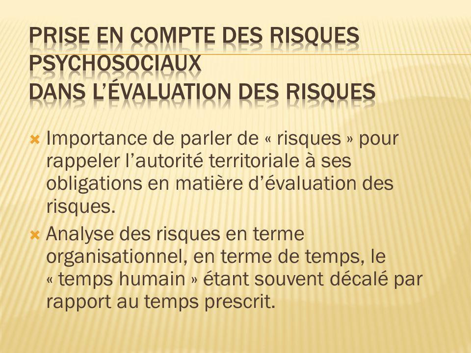 Prise en compte des risques psychosociaux dans l'évaluation des risques