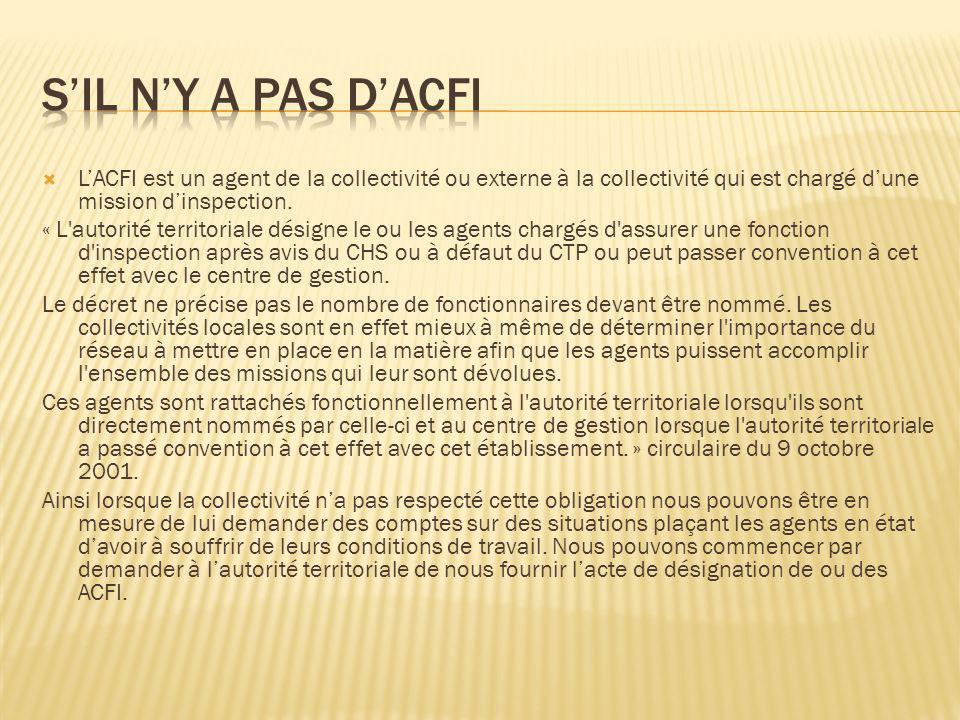 S'il n'y a pas d'ACFI L'ACFI est un agent de la collectivité ou externe à la collectivité qui est chargé d'une mission d'inspection.