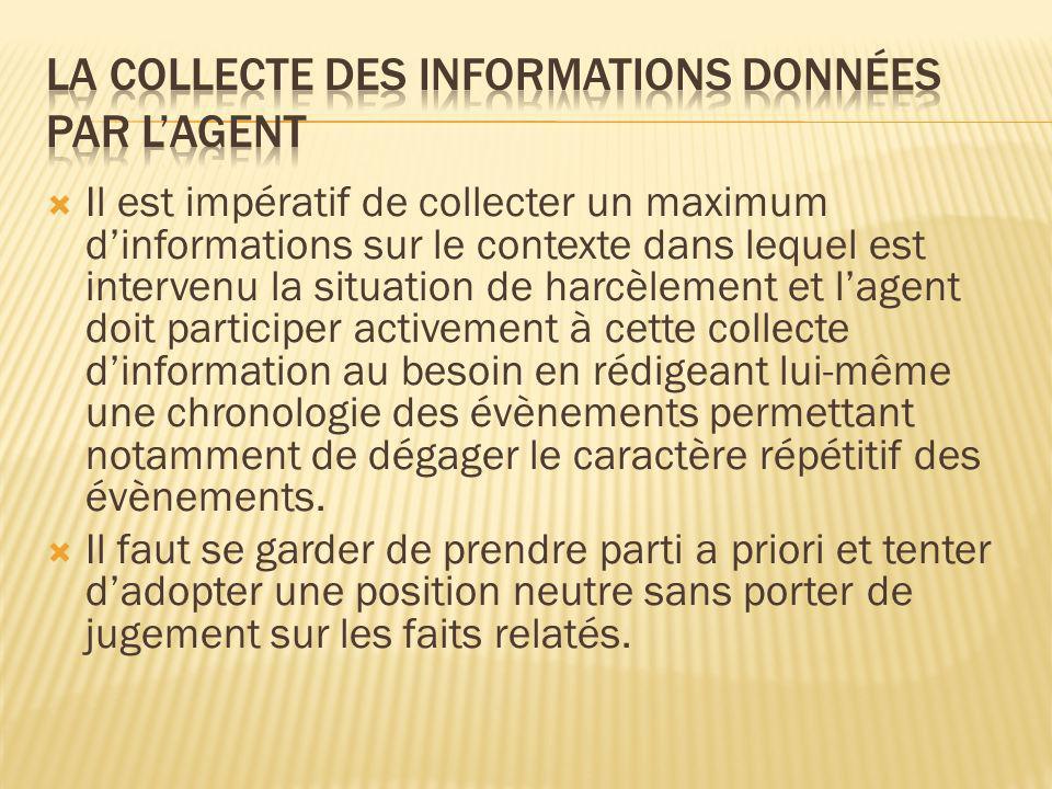 La collecte des informations données par l'agent