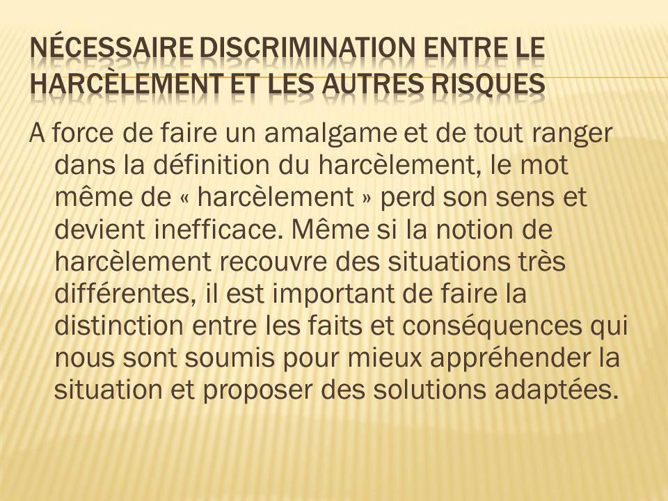Nécessaire discrimination entre le harcèlement et les autres risques