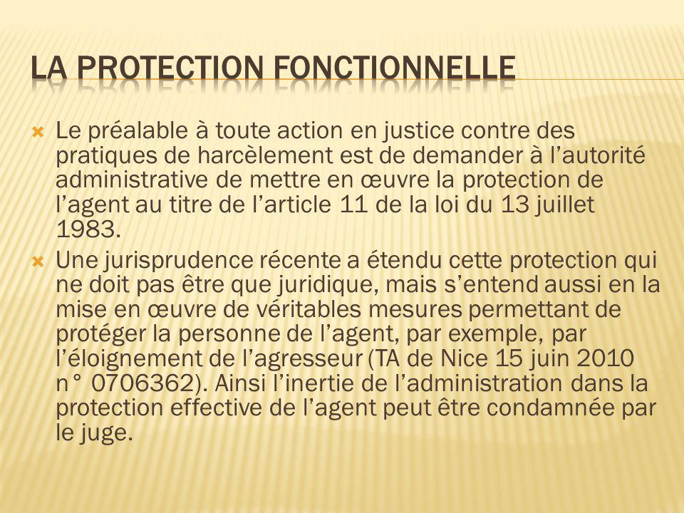 La protection fonctionnelle