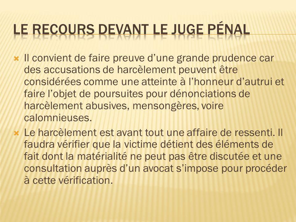 Le recours devant le juge pénal