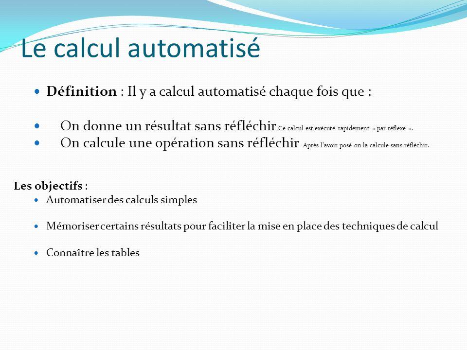 Le calcul automatisé Définition : Il y a calcul automatisé chaque fois que :