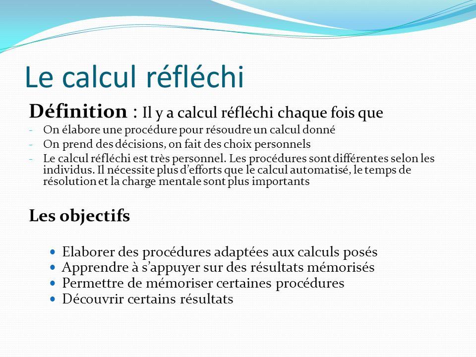 Le calcul réfléchi Définition : Il y a calcul réfléchi chaque fois que