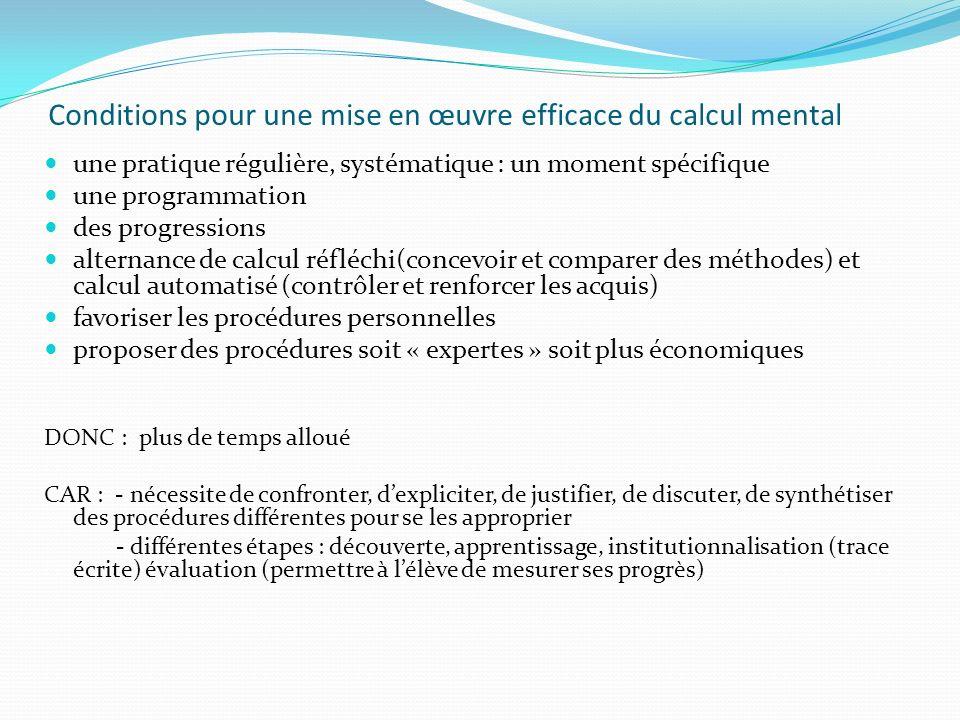 Conditions pour une mise en œuvre efficace du calcul mental