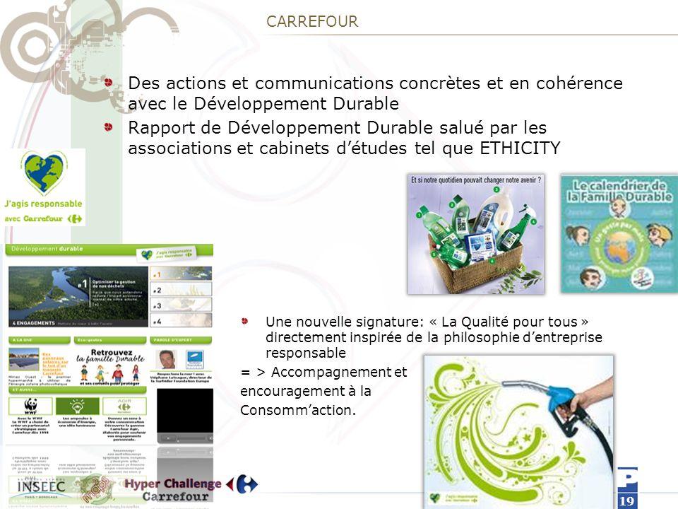 CARREFOUR Des actions et communications concrètes et en cohérence avec le Développement Durable.