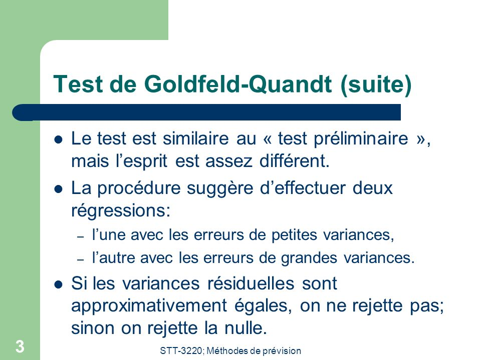 Test de Goldfeld-Quandt (suite)