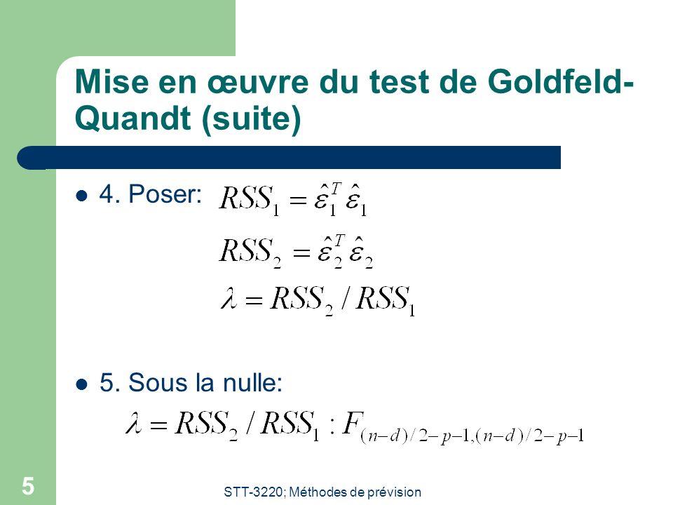 Mise en œuvre du test de Goldfeld-Quandt (suite)