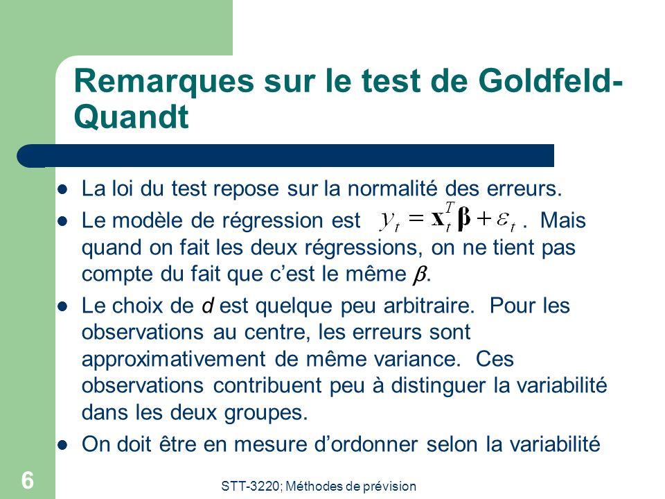 Remarques sur le test de Goldfeld-Quandt