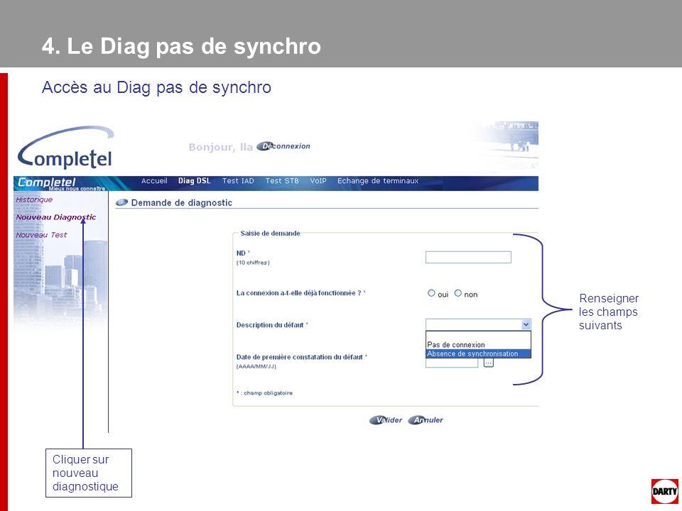 4. Le Diag pas de synchro Accès au Diag pas de synchro