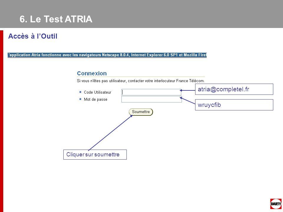 6. Le Test ATRIA Accès à l'Outil atria@completel.fr wruycfib