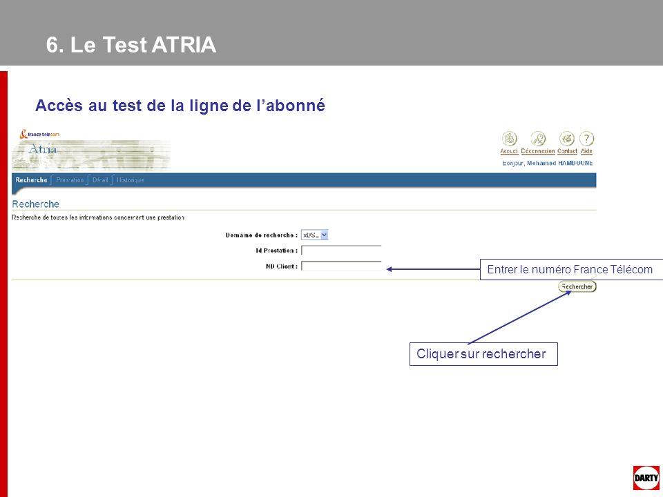 6. Le Test ATRIA Accès au test de la ligne de l'abonné