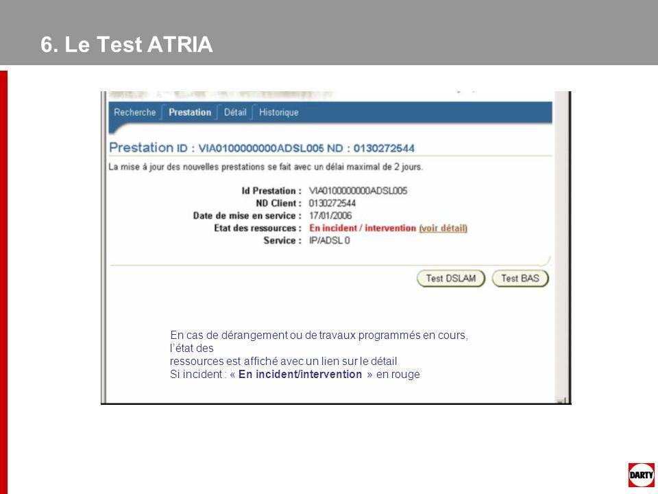 6. Le Test ATRIA En cas de dérangement ou de travaux programmés en cours, l'état des. ressources est affiché avec un lien sur le détail.