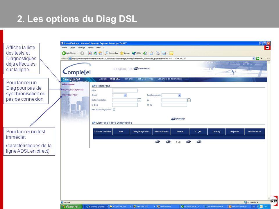 2. Les options du Diag DSLAffiche la liste des tests et Diagnostiques déjà effectués sur la ligne.