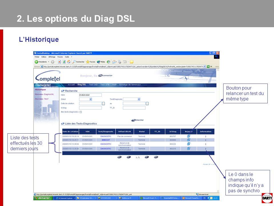 2. Les options du Diag DSL L'Historique