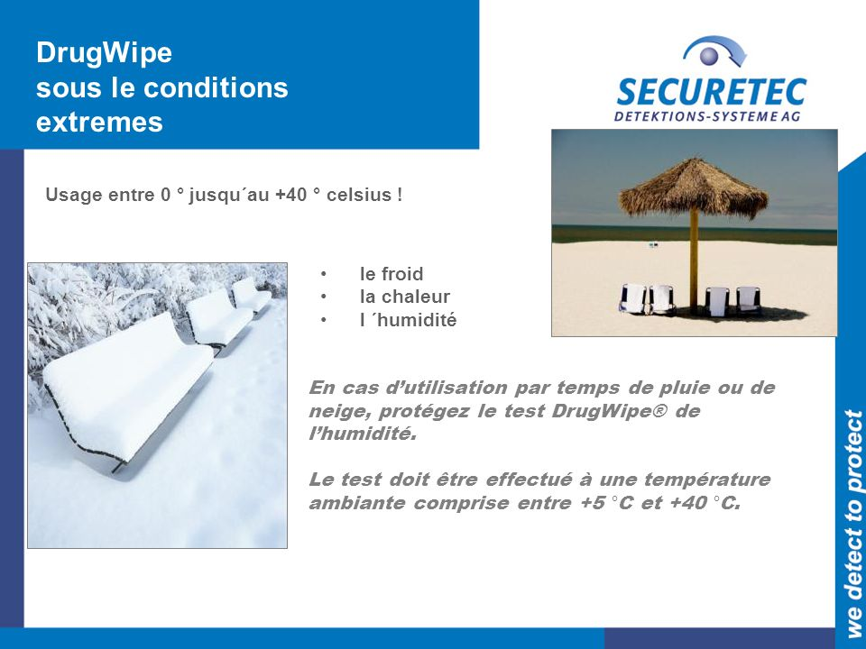 DrugWipe sous le conditions extremes
