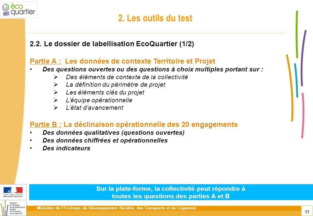 2. Les outils du test 2.2. Le dossier de labellisation EcoQuartier (1/2) Partie A : Les données de contexte Territoire et Projet.