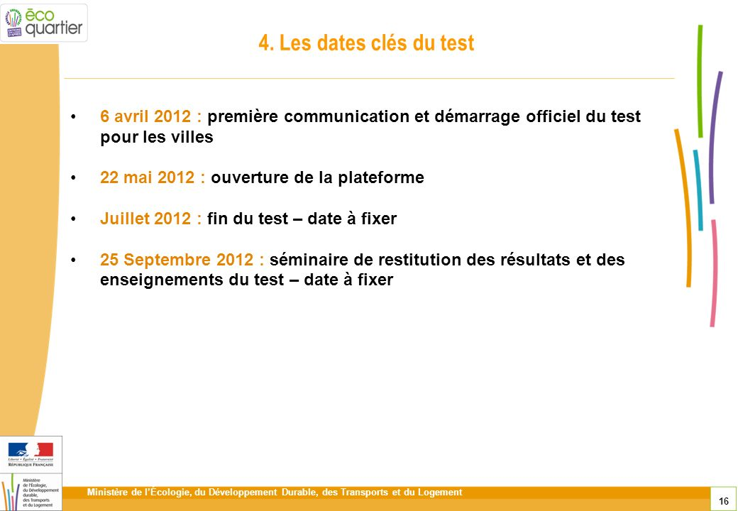 4. Les dates clés du test 6 avril 2012 : première communication et démarrage officiel du test pour les villes.