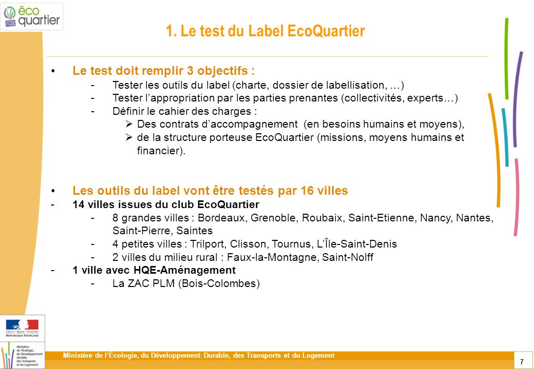 1. Le test du Label EcoQuartier
