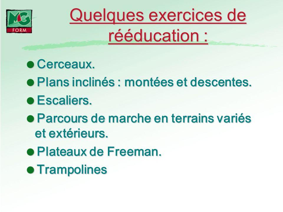Quelques exercices de rééducation :
