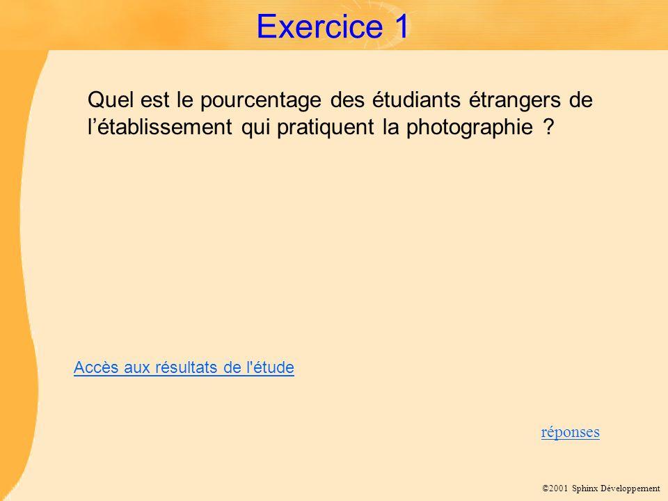 Exercice 1 Quel est le pourcentage des étudiants étrangers de l'établissement qui pratiquent la photographie
