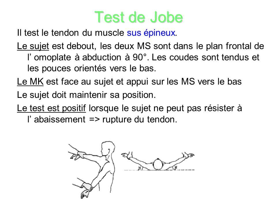 Test de Jobe Il test le tendon du muscle sus épineux.
