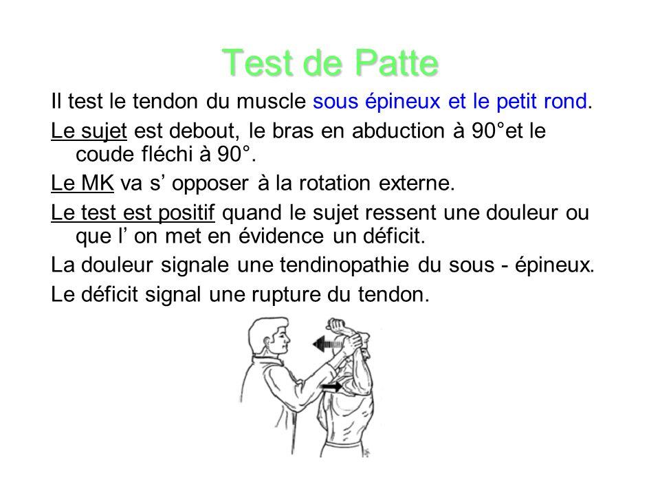 Test de Patte Il test le tendon du muscle sous épineux et le petit rond. Le sujet est debout, le bras en abduction à 90°et le coude fléchi à 90°.