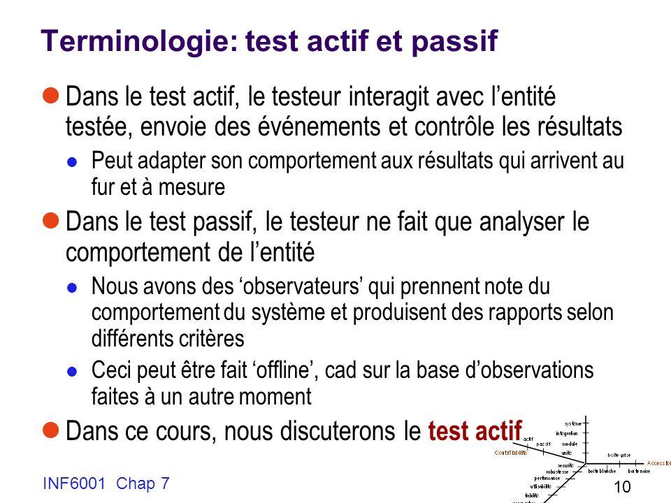 Terminologie: test actif et passif