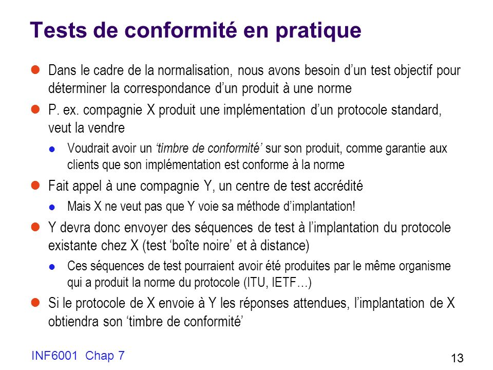 Tests de conformité en pratique