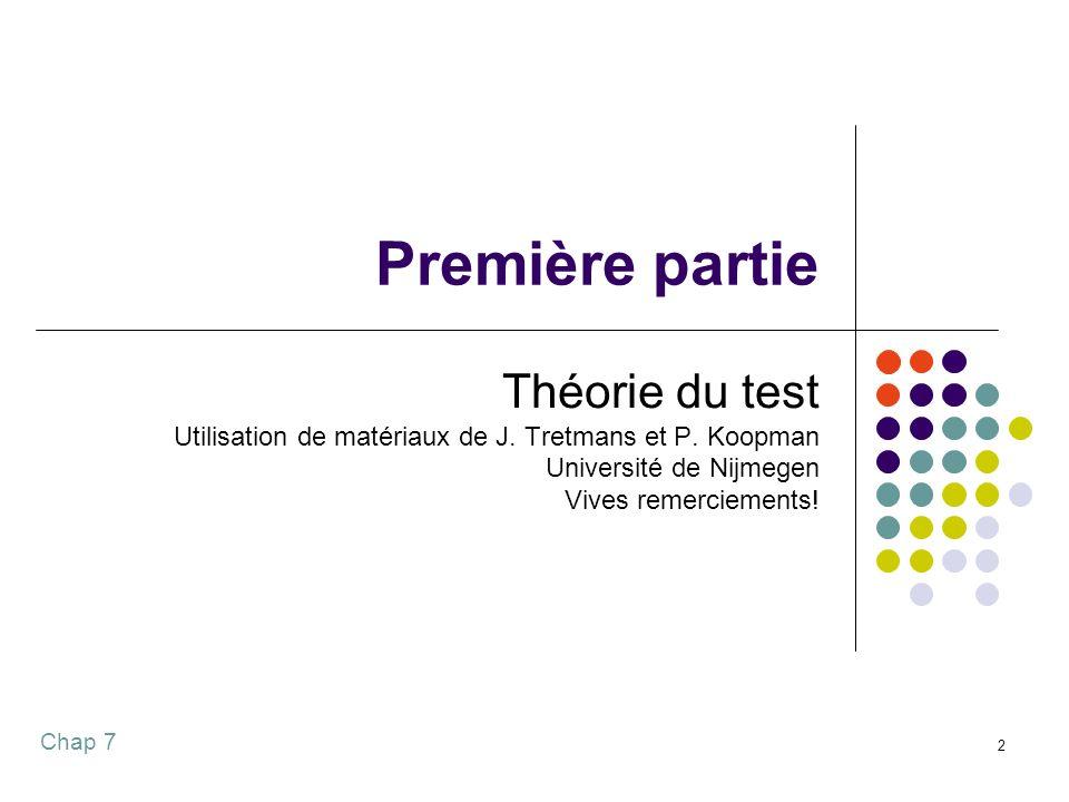 Première partie Théorie du test
