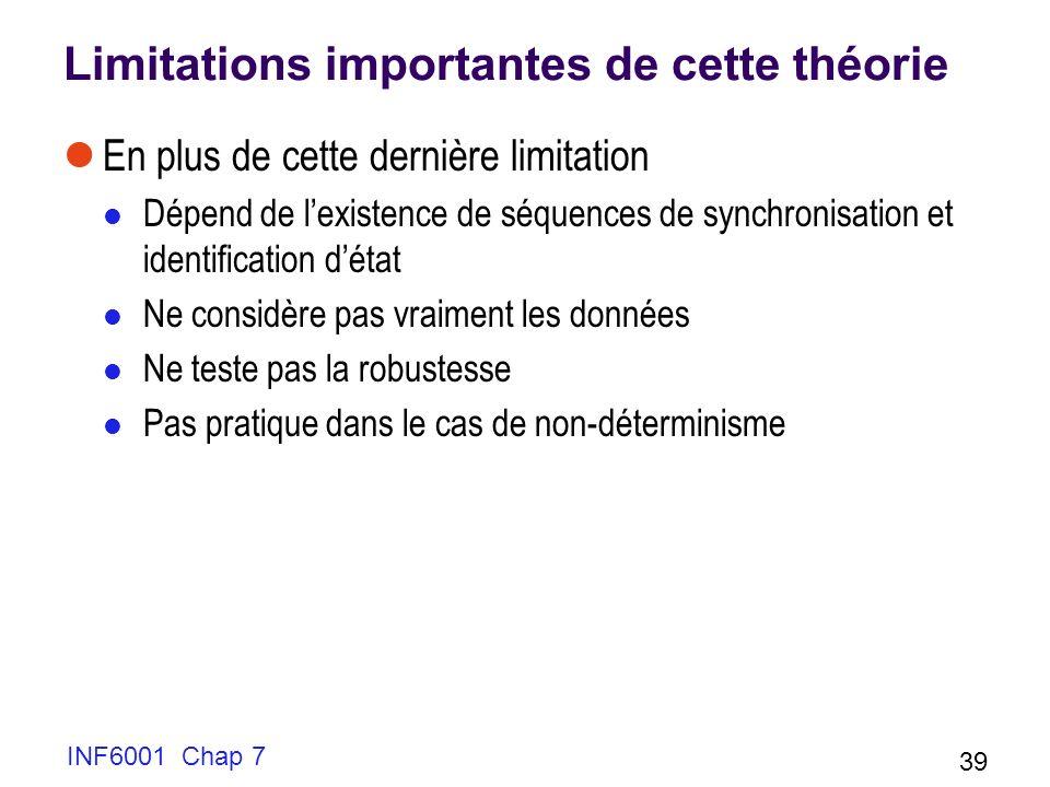 Limitations importantes de cette théorie