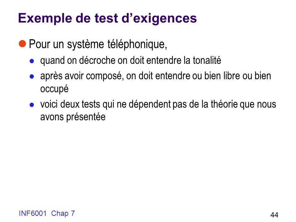 Exemple de test d'exigences