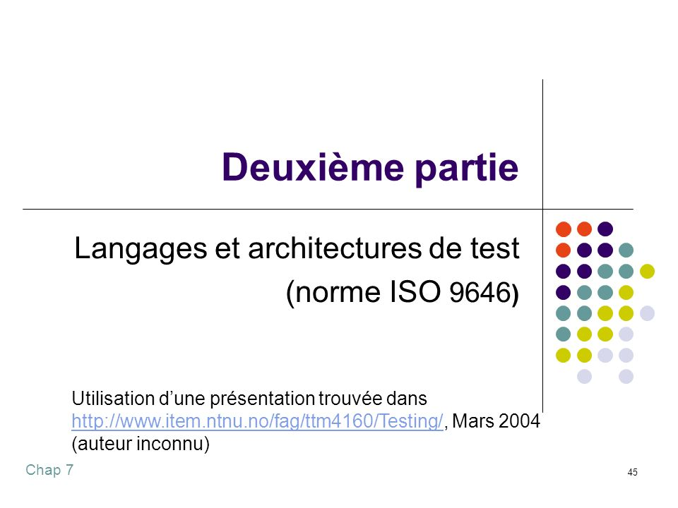 Langages et architectures de test (norme ISO 9646)