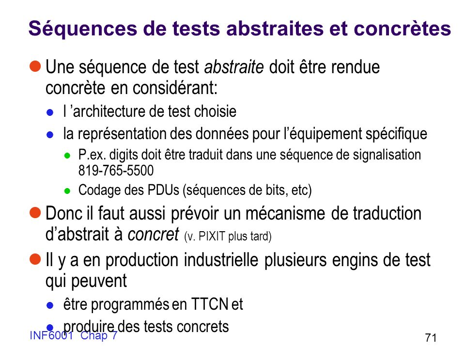 Séquences de tests abstraites et concrètes