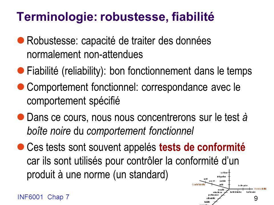 Terminologie: robustesse, fiabilité