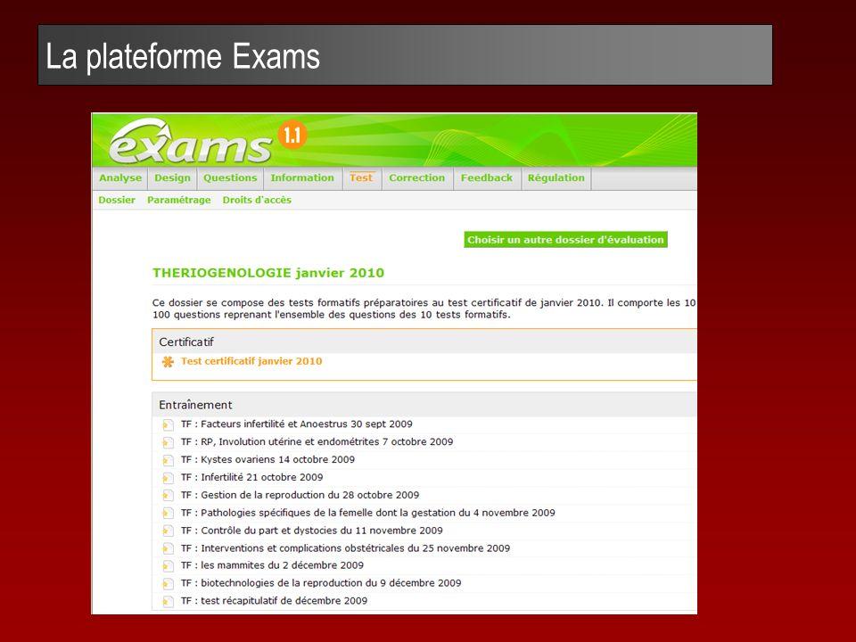 La plateforme Exams