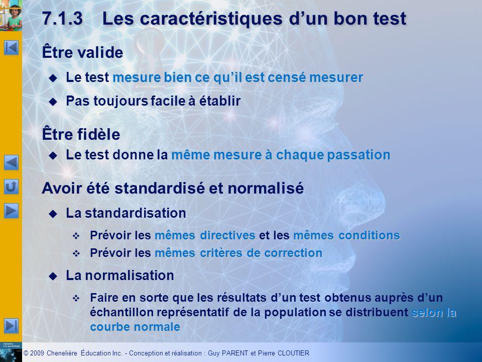 7.1.3 Les caractéristiques d'un bon test