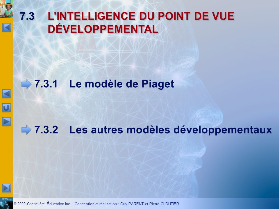 7.3 L'INTELLIGENCE DU POINT DE VUE DÉVELOPPEMENTAL