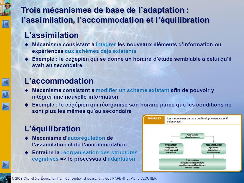 Trois mécanismes de base de l'adaptation : l'assimilation, l'accommodation et l'équilibration
