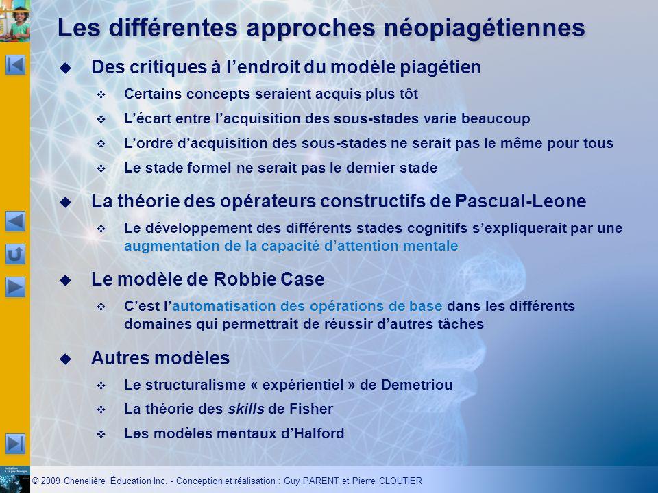 Les différentes approches néopiagétiennes