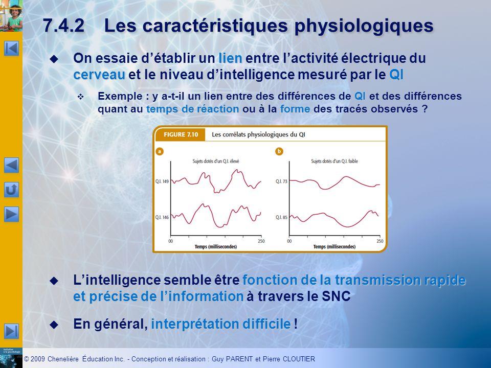 7.4.2 Les caractéristiques physiologiques
