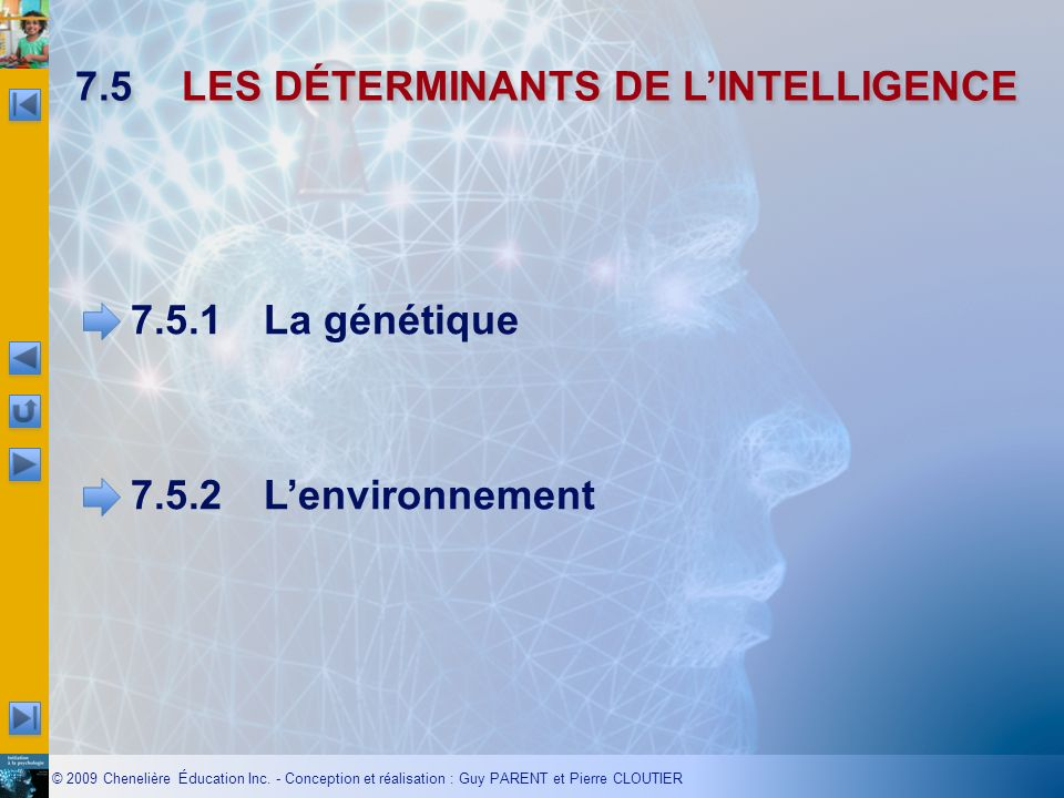 7.5 LES DÉTERMINANTS DE L'INTELLIGENCE