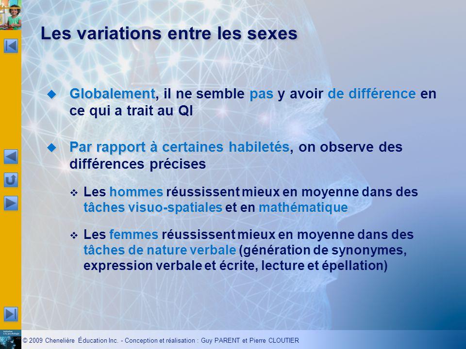 Les variations entre les sexes