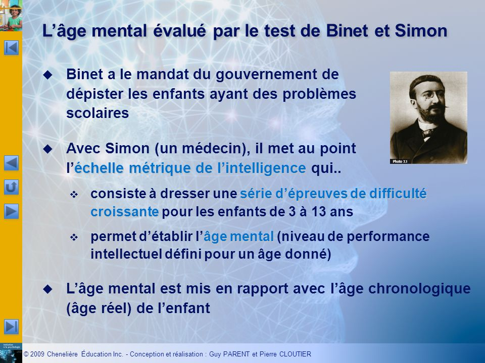 L'âge mental évalué par le test de Binet et Simon
