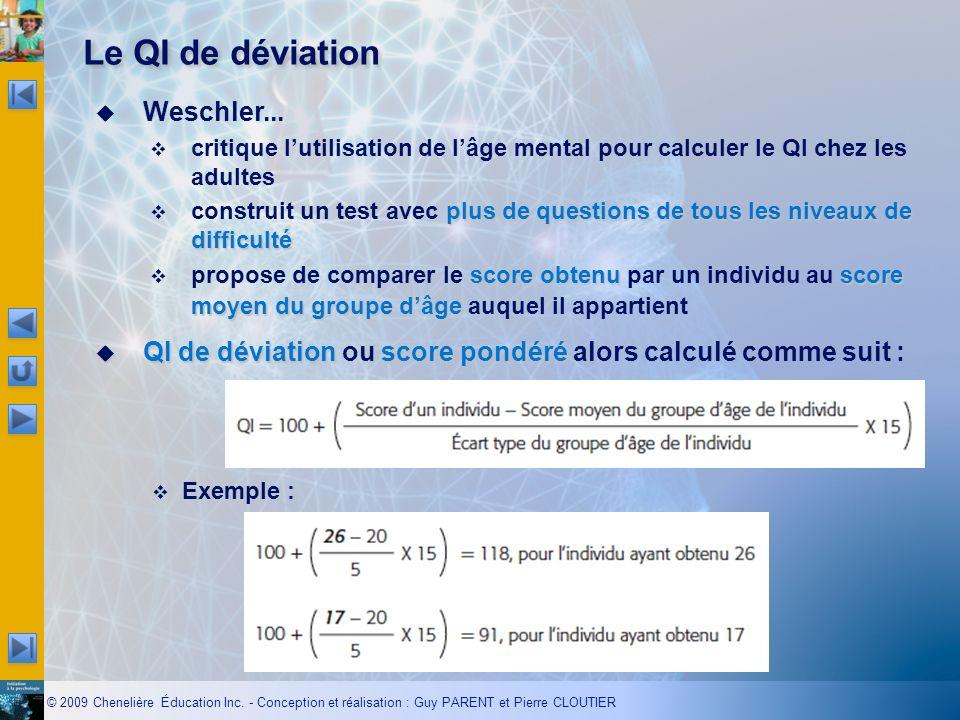 Le QI de déviation Weschler...